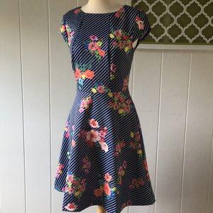 ✨ECI New York XS Navy Stripe Floral dress 👗 ✨